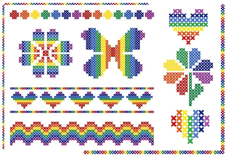 Cross stitch rainbow elements Vector