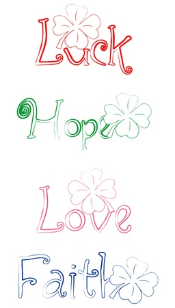 Luck Faith Hope Love tekent bij Shamrock Stock Illustratie