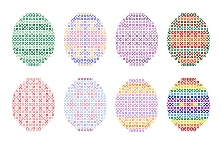Cross stitch Easter eggs Vettoriali