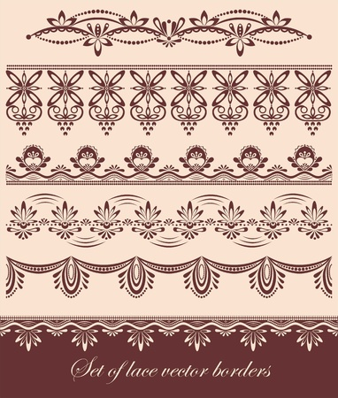 lace vector: Set of vintage scalloped vector lace borders