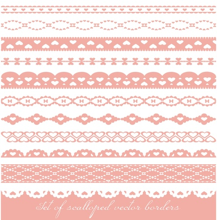 Set of scalloped vector borders with hearts
