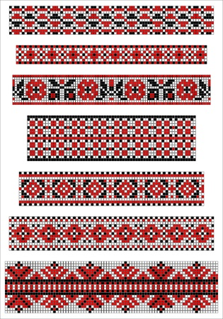 Ethnic cross stitch borders pattern Vector