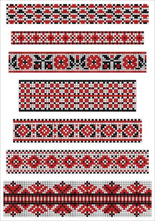 Ethnic cross stitch borders pattern