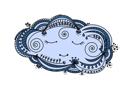 Sleepy cloud cartoon illustration