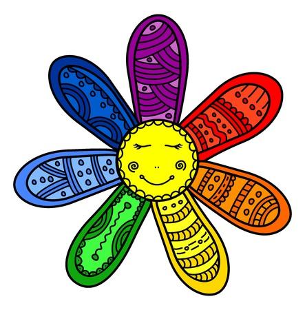 Seven wishes rainbow flower cartoon illustration Illustration