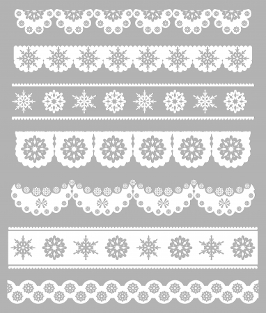 Scalloped Christmas Vector borders with snowflakes Vettoriali