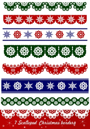 christmas embellishments: Scalloped Christmas multicolored Vector borders  Illustration