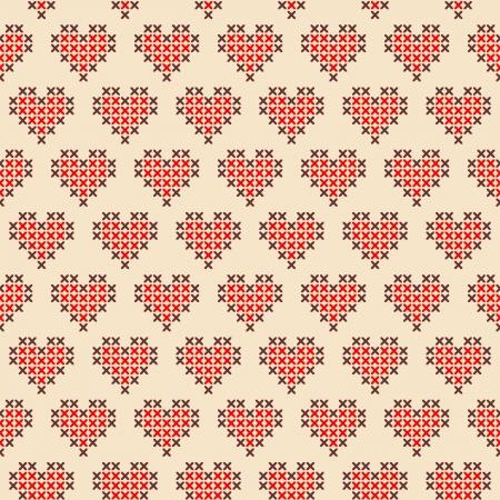 Seamless Valentine s cross stitched hearts pattern