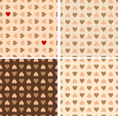 Set of four seamless heart valentine retro patterns  Chocolate brown and retro pink colors