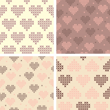 Set of cross stitched Valentine's patterns Vector