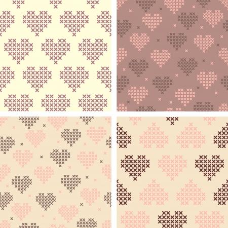 stitched: Set of cross stitched Valentines patterns