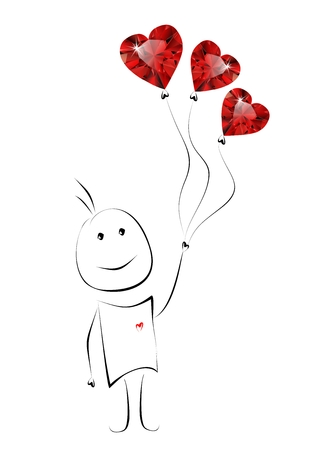Hand drawn cartoon man with heart shaped diamond balloons  Stock Photo