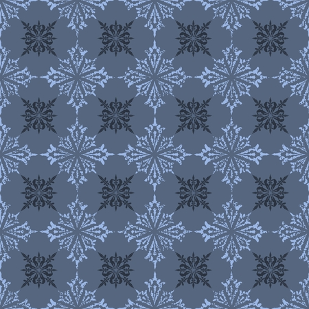 Vector seamless damask pattern with snowflakes
