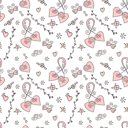 Vector seamless valentine hand drawn doodle pattern