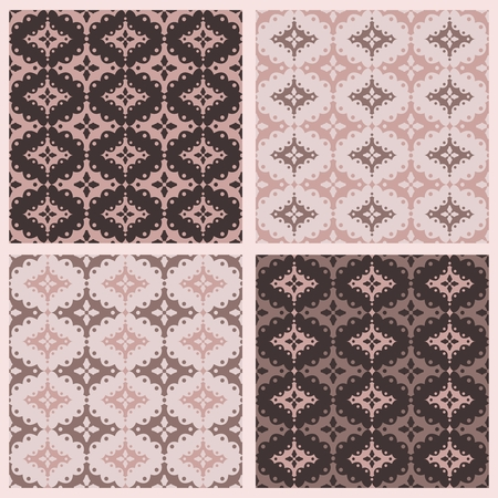 Set of four scalloped vector seamless patterns