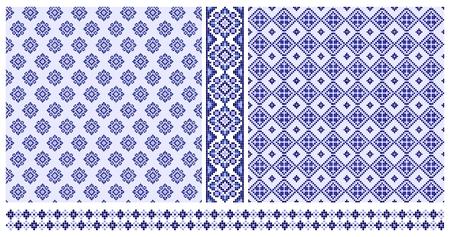 シームレスなの青い十字のステッチ パターンと枠線