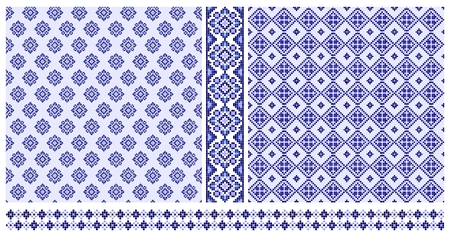 Set of blue seamless cross stitched patterns and borders