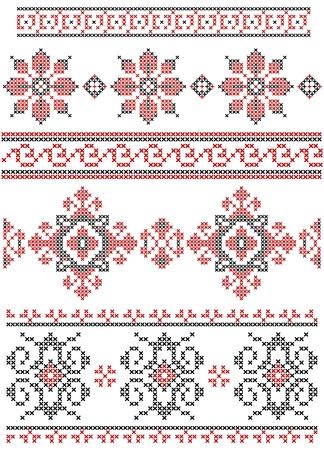 punto cruz: Conjunto de vectores negro y rojo cruz puntada fronteras étnicas