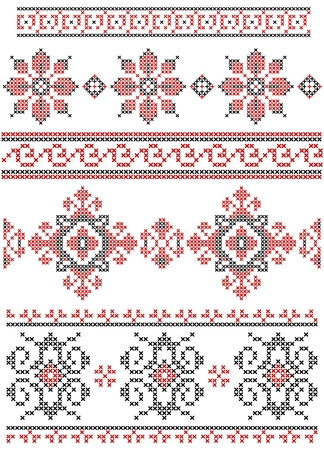 Set of vector black and red cross stitch ethnic borders