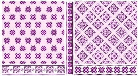 Set of purple ethnic cross stitched seamless patterns and  Illustration