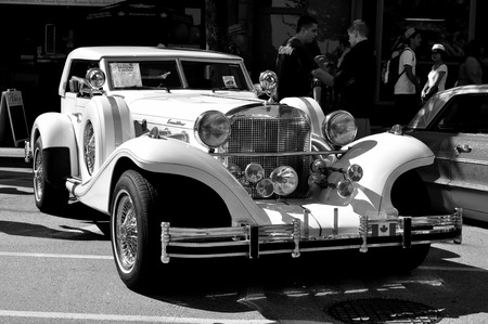 Black and white old Excalibur car Editorial