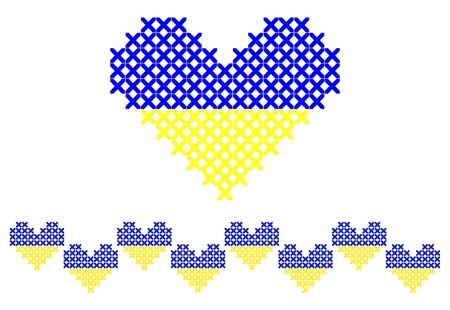 Cross stitched heart and seamless border Illustration