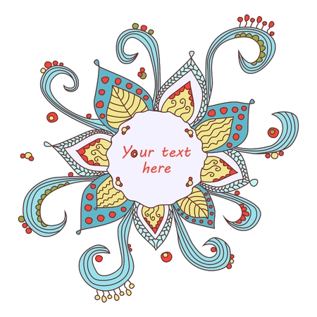 Whimsical Christmas snowflake flower frame Vector