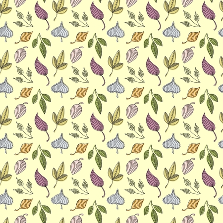 Hand-drawn doodle autumn seamless pattern
