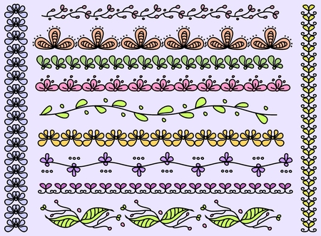 Set of seamless handdrown doodle borders