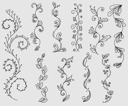 Set of hand drawn swirly vines Stok Fotoğraf - 44328929