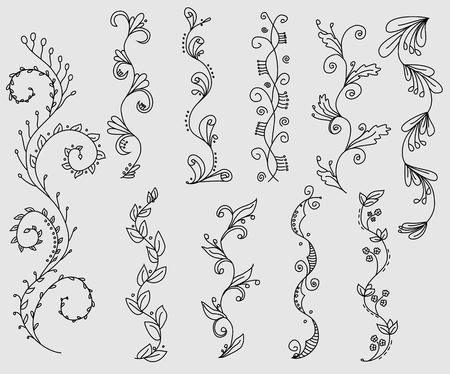 Set van hand getekende swirly wijnstokken