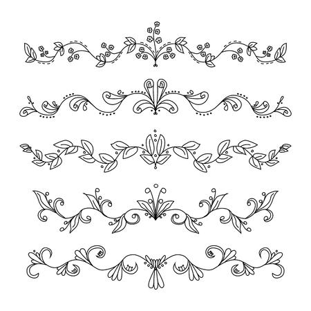 hand drawn: Set of hand drawn swirly dividers Illustration