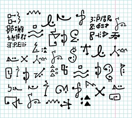 Alien doodle alphabet