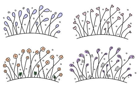 grass silhouette: Set of simple floral hand drawn borders Illustration