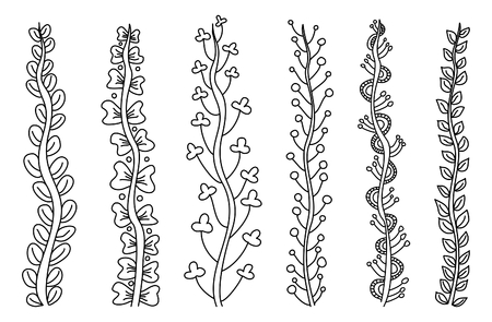 Set of vector whimsical abstract floral stems Illustration