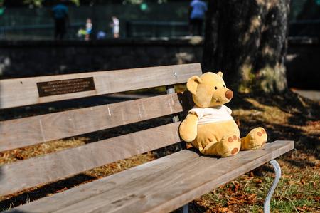 Bear toy sitting on a bench in a park Standard-Bild
