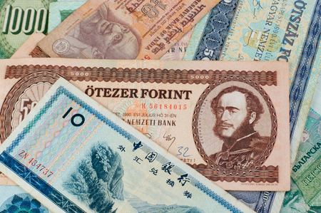 Collection of old money banknotes, portrait side