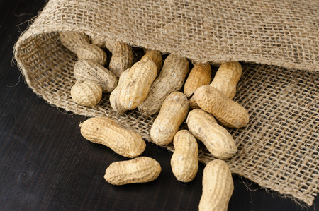 Peanuts in a jute fabric