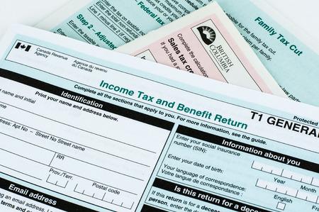 Canadees individu belastingformulier T1 close-up Redactioneel