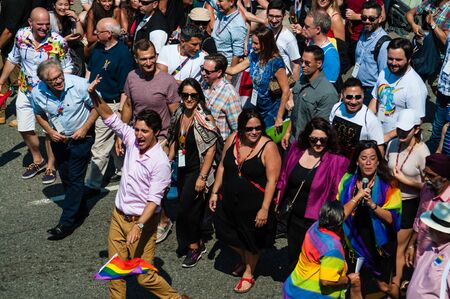 Canadian Prime Minister Justin Trudeau attends annual Pride Parade in Vancouver, British Columbia, Canada on August 5, 2018