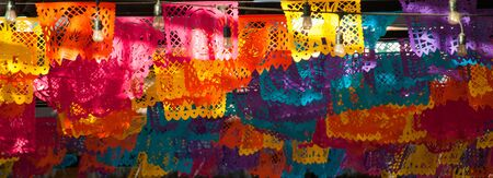 Colorful Mexican bunting decorations (papel picado) banner