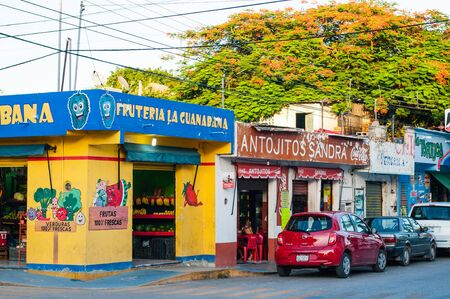 Playa del Carmen, Mexico - 22 August 2019 Corner street colorful Fruits and Vegetables store. Translation: