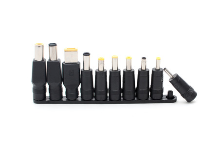 universal recharger adapters heads isolate on white Stock Photo