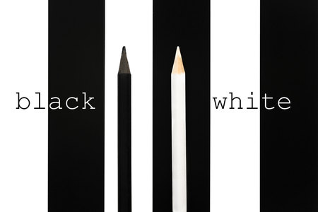 dissent: Black and white penciles standing out from crowd on bw stripe background. business success concept of leadership an uniqueness,independence, initiative,strategy, dissent, think different