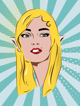 Beautiful retro girl in mage of an elf. Blue dot and stripes background. Pop art vector illustration. Illustration