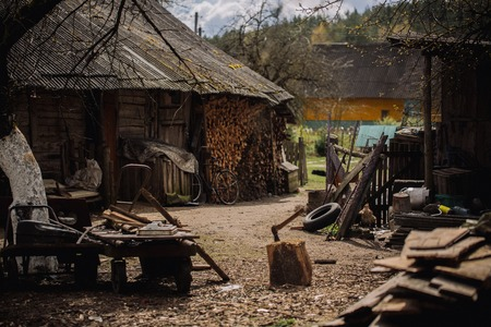 Household in the village of russia. Handmade household tools in the yard. Lifestyle of old people.