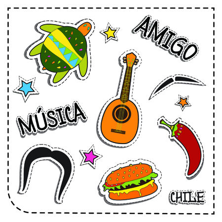 Mexican party sticker applique. Mexico style. Vector illustration set. musica means music. amigo means friend, chile means chilli pepper.