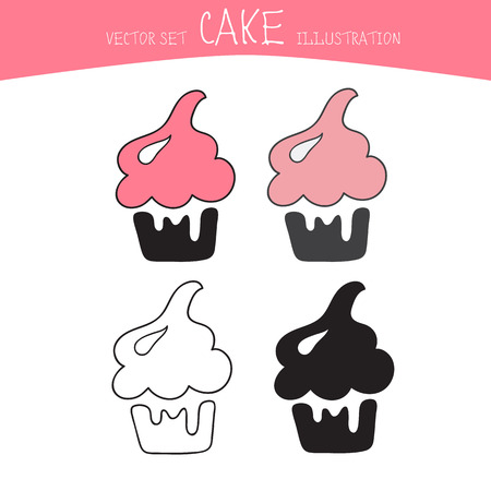 confection: cake vector set. Four sweets in black, line and colour style
