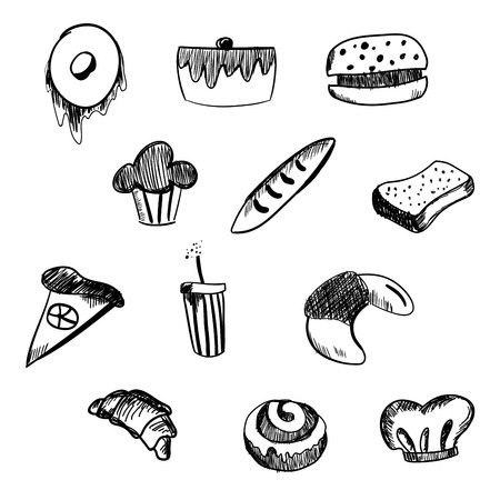 sketch out: Hand Drawn bakery and fast food icon set. Blackboard stickers with chalk design. Vector illustration. Donut, soda, pizza and burger, cake, cupcake, baguette and Croissant for cut out