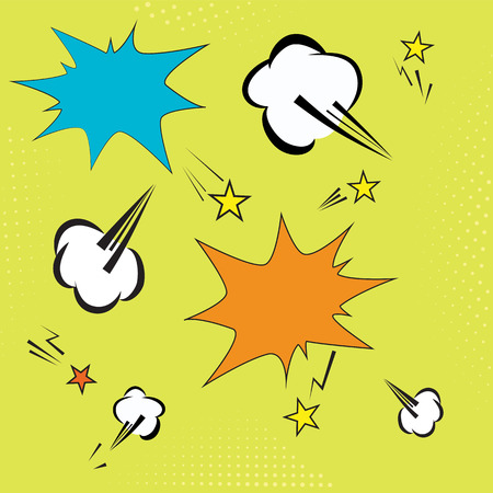 background with pop art elements. yelow dots, clouds and speech star bubble for text. retro vector illustration for design.